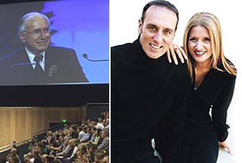 Hallelujah ... Prime Minister John Howard at Hillsong last year and right, the church's senior pastors Brian and Bobbie Houston.